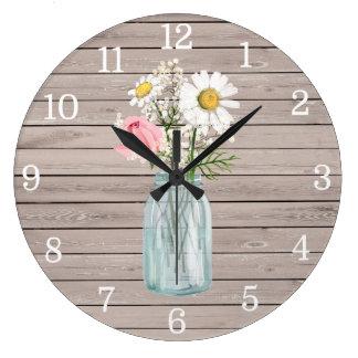 Rustic Rose & Daisies Mason Jar Clock