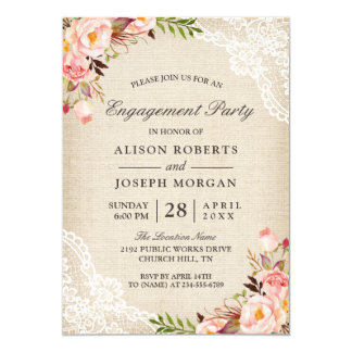 Rustic Rose Floral Burlap Lace Engagement Party Invitation