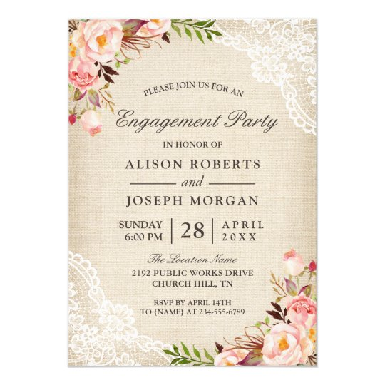 Rustic Rose Floral Burlap Lace Engagement Party Invitation