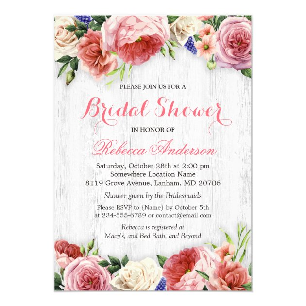 Rustic Rose Floral Chic White Wood Bridal Shower Card