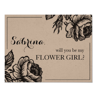 Rustic Rose Flowers Will You Be My Flower Girl Card
