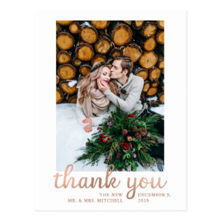 Rustic Rose Gold Wedding Photo Thank You Postcard