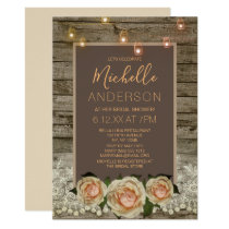 Rustic Rose Lace Mason Jar LightS BRIDAL SHOWER Invitation