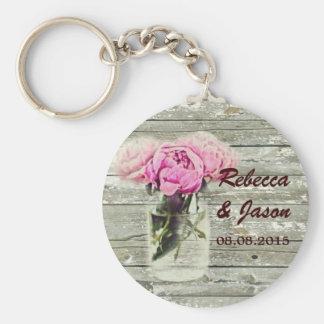 rustic rose mason jar wedding thank you keychain