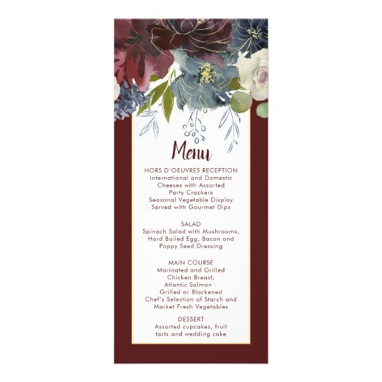Rustic Rose Navy Burgundy Gold Floral Wedding Menu