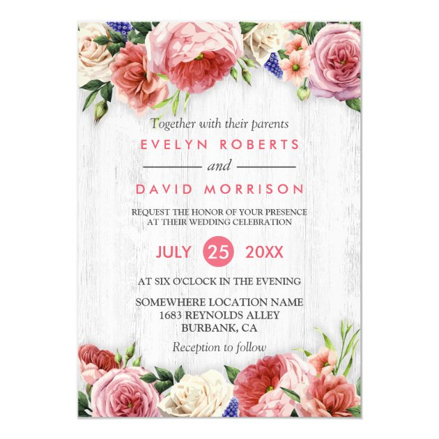 Rustic Rose Pink Floral Chic White Wood Wedding Card