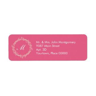 Rustic Rose Pink Outlined Floral Wreath Monogram Label