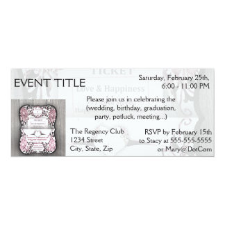 Rustic Rose Ticket to Love 4x9.25 Paper Invitation Card