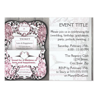 Rustic Rose Ticket to Love 5x7 Paper Invitation Card