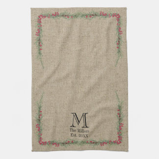 Rustic Rosemary and Berries Watercolor on Burlap Hand Towel