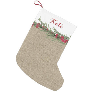 Rustic Rosemary and Berries Watercolor on Burlap Small Christmas Stocking