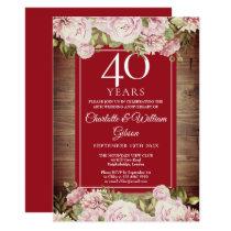 Rustic Roses 40th Anniversary Invitation