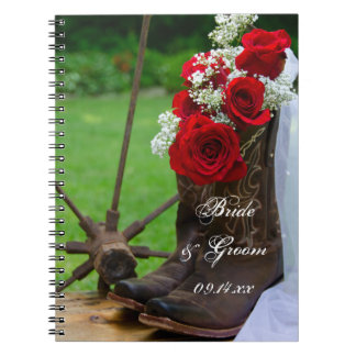 Rustic Roses and Cowboy Boots Country Wedding Spiral Notebook