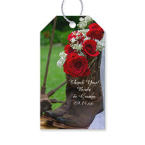 Rustic Roses and Cowboy Boots Wedding Favor Tag