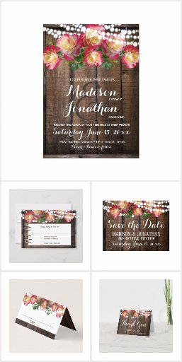 Rustic Roses and Fairy Lights Wedding Invitations