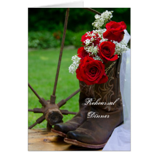 Rustic Roses Boots Wedding Rehearsal Dinner Invite Card