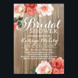 """Rustic Roses   Bridal Shower Invitations<br><div class=""""desc"""">This stylish invitation features real roses on a rustic wooden background. Personalize the back of the card with the Bride &amp; Groom&#39;s names.</div>"""