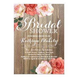 Rustic Roses   Bridal Shower Invitations