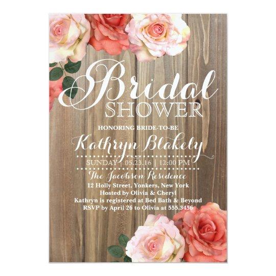Gentil Rustic Roses | Bridal Shower Invitations