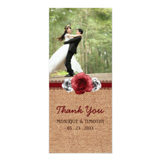 Rustic Roses Burlap Lace - Sweet Wedding Thank You Card