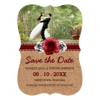 Rustic Roses - Burlap Lace Wedding Save the Date Card