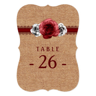 "Rustic Roses - Burlap Lace Wedding Table Number 5"" X 7"" Invitation Card"