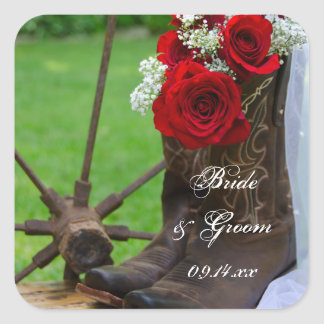 Rustic Roses Country Wedding Envelope Seals Stickers