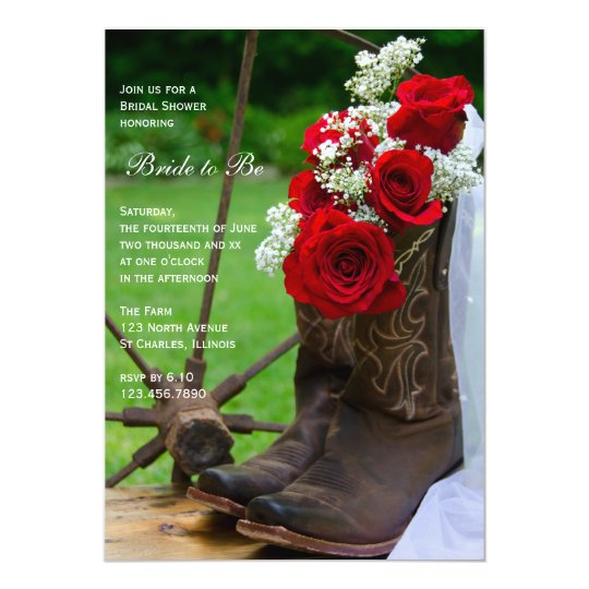 Rustic Roses Cowboy Boots Country Bridal Shower Card