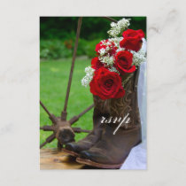 Rustic Roses Cowboy Boots Country Wedding RSVP