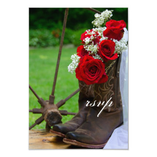 Rustic Roses Cowboy Boots Country Wedding RSVP 3.5x5 Paper Invitation Card