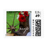 Rustic Roses Cowboy Boots Country Wedding RSVP Stamps