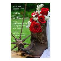 Rustic Roses Cowboy Boots Wedding Rehearsal Dinner Invitation
