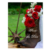 Rustic Roses Cowboy Boots Wedding Save the Date Postcard
