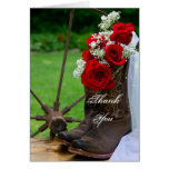Rustic Roses Cowboy Boots Wedding Thank You Greeting Card