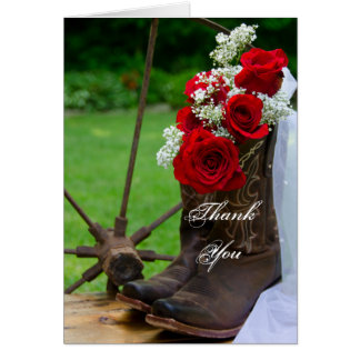 Rustic Roses Cowboy Boots Wedding Thank You Card