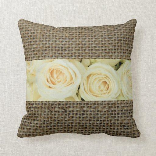 Rustic Roses on Burlap Throw Pillow Zazzle