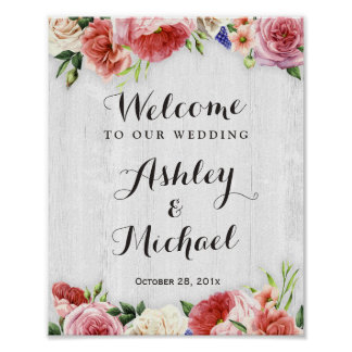 Rustic Roses White Wood Wedding Reception Sign Poster