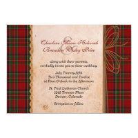 Rustic Royal Stewart Plaid Wedding Invitation