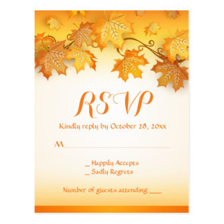 Rustic RSVP Autumn Leaves Orange Fall Wedding Postcard