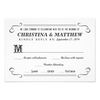 Rustic RSVP Chalkboard Style Reply Cards