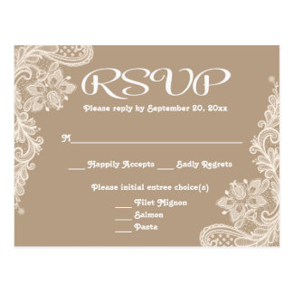 Rustic RSVP Floral Lace Brown & White Tan - Menu Postcard