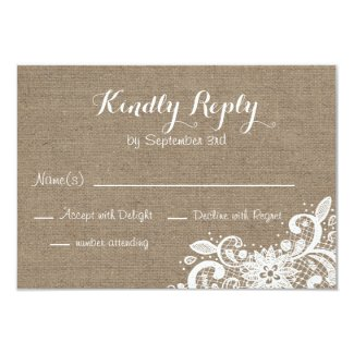 Rustic RSVP in Burlap and Lace Card