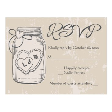 Valentines Themed Rustic RSVP Mason Jar Hearts Brown Tan Wedding Postcard