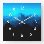 Rustic Rugged Blue Jagged Mountains Landscape Square Wall Clock