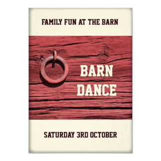 Rustic Rural Red Wooden Barn Party Dance Event 5x7 Paper Invitation Card