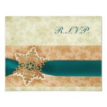rustic rustic aqua winter wedding rsvp cards