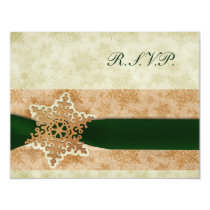 rustic rustic green winter wedding rsvp cards