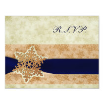 "rustic rustic ""navy blue winter wedding rsvp cards"
