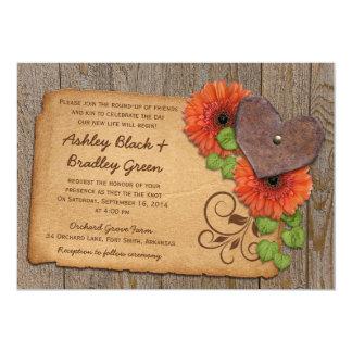 Rustic Rusty Heart Orange Daisy Country Wedding 2 Card