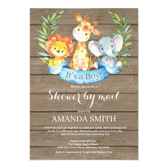 Rustic Safari Jungle Boy Baby Shower by Mail Invitation
